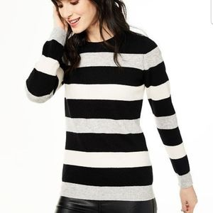 NWOT Pure Cashmere Striped Crewneck Sweater